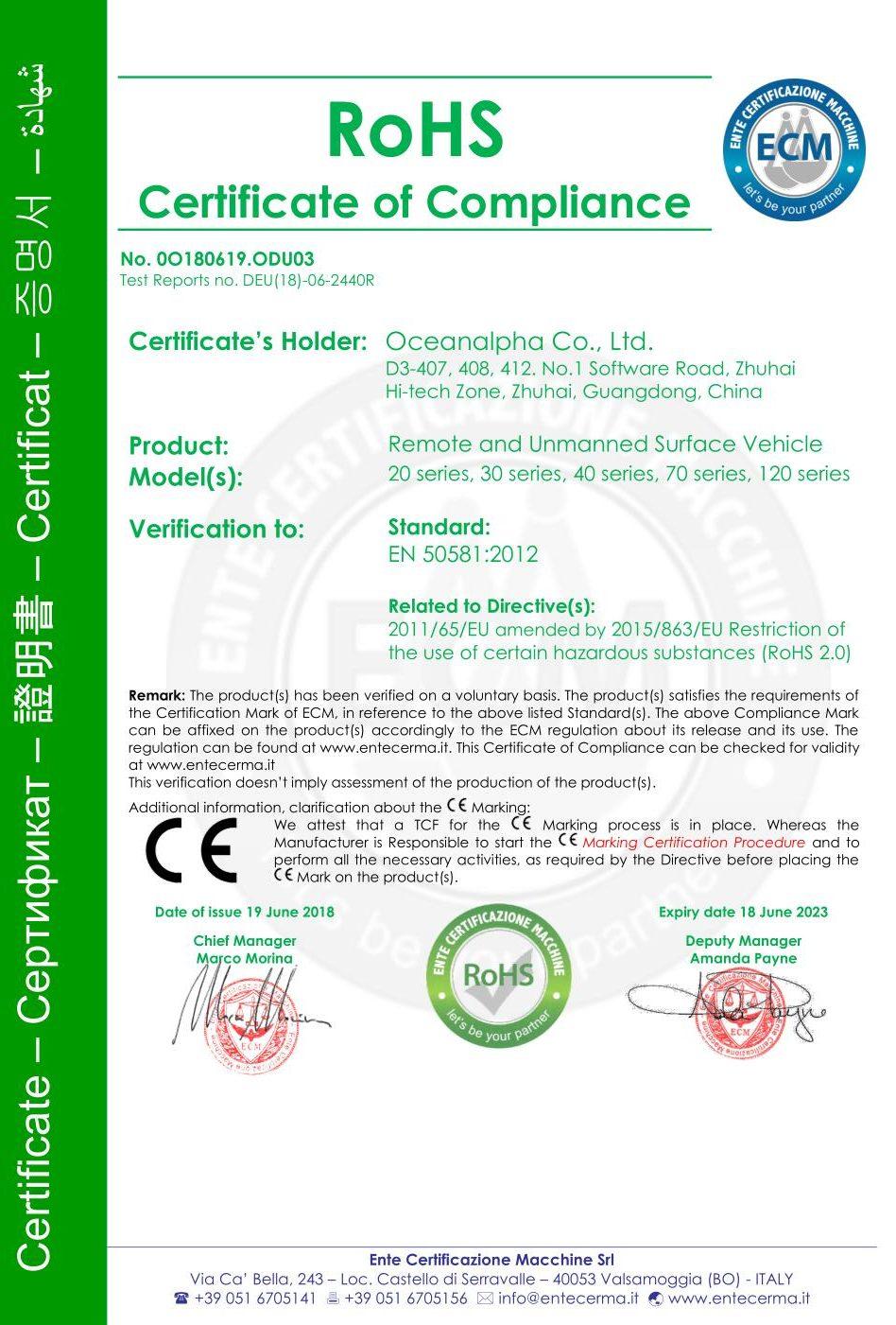 ROHS Certificat