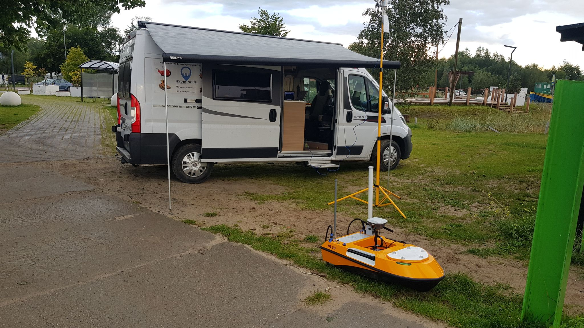 SL20 small unmanned surface vehicle transported by a RV